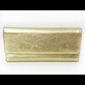 Hobo International Gold Leather Sadie Snap Wallet